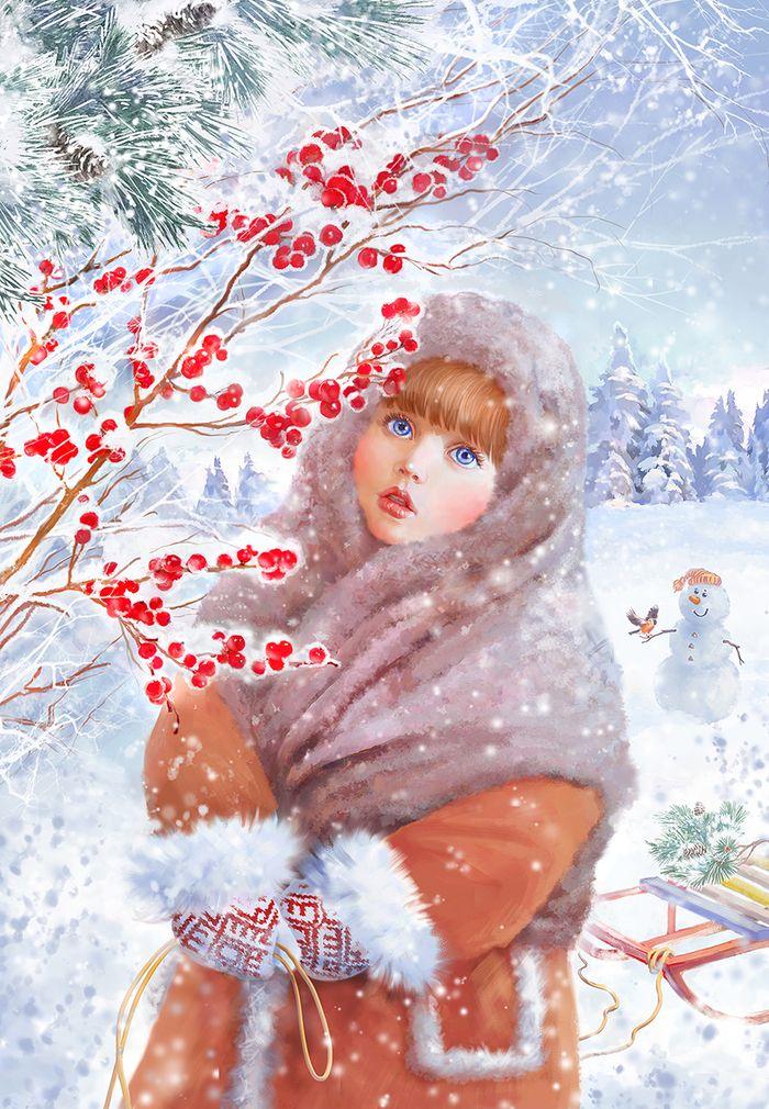 Рисунки зимы для открытки