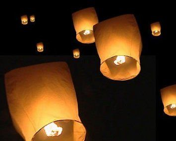 10 x Eco Friendly Sky Lanterns for Christmas, New Years Eve, Chinese New Year, Weddings & Parties (40cms 58cms x 105cms): Amazon.co.uk: Gard...