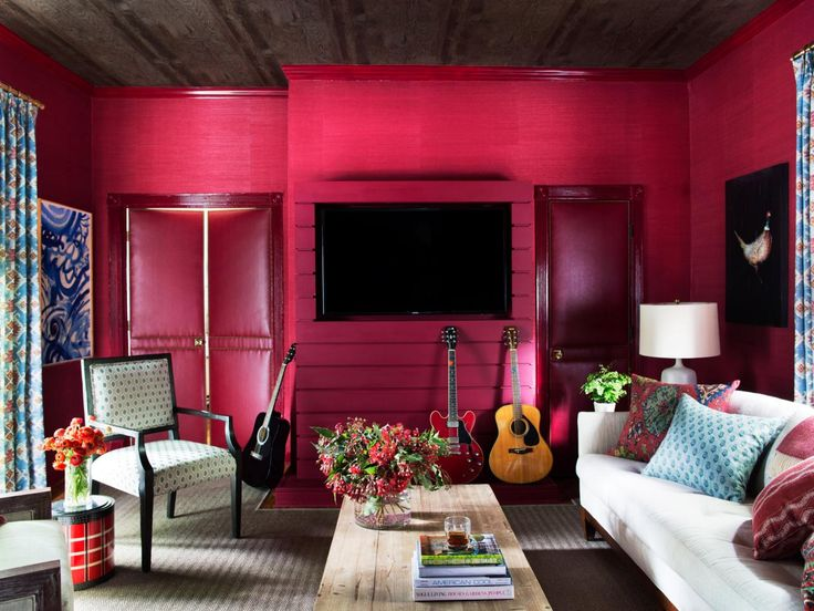 Media Room Makeover Bold Living RoomRed