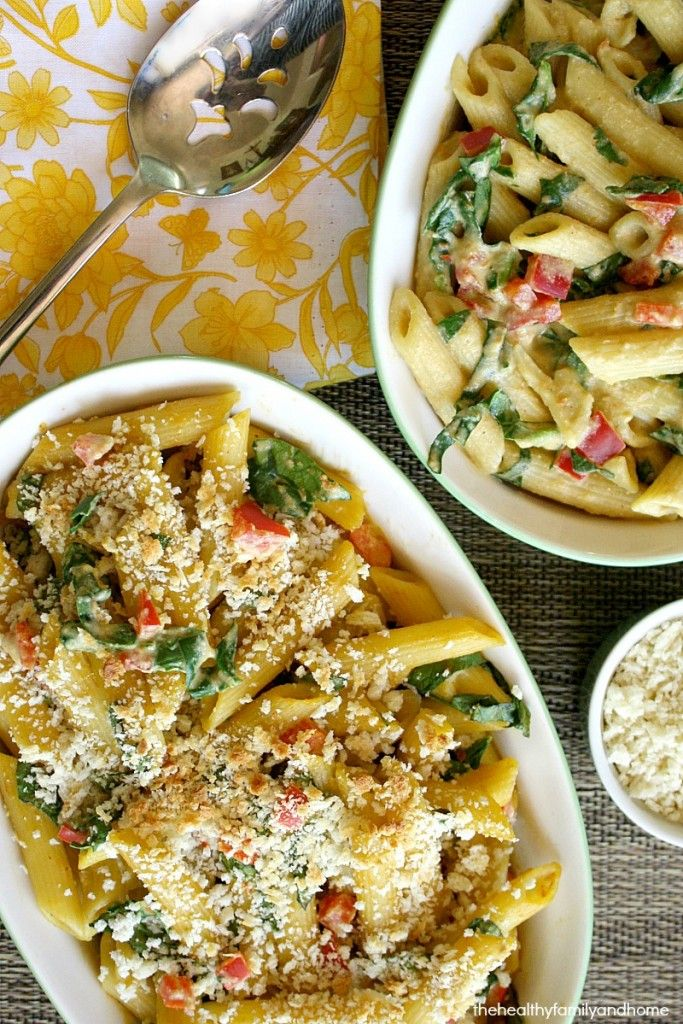Vegan Baked Penne Pasta with Spicy Rose' Sauce...gluten-free pasta with a spicy, creamy vegan sauce tossed with fresh spinach and red bell peppers make this a super easy meal to make in less than 20 minutes and it's vegan, gluten-free and dairy-free. Enjoy!