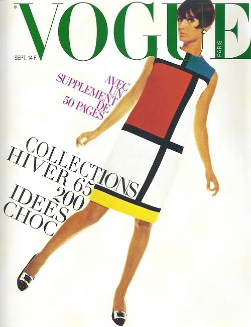 Yves Saint Laurent, Mondrian shift dress revolutionized fashion in the mid 60s / Vogue cover, 1965