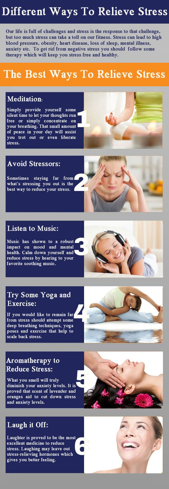To get rid from negative stress you should take some effective stress relievers along with the following therapy which will keep you stress free and healthy.  Meditation, Avoid stressors, Listen to music, Try some yoga and exercise, Aromatherapy to reduce stress, Laugh it off For more : http://www.buykamagragold.com/blog