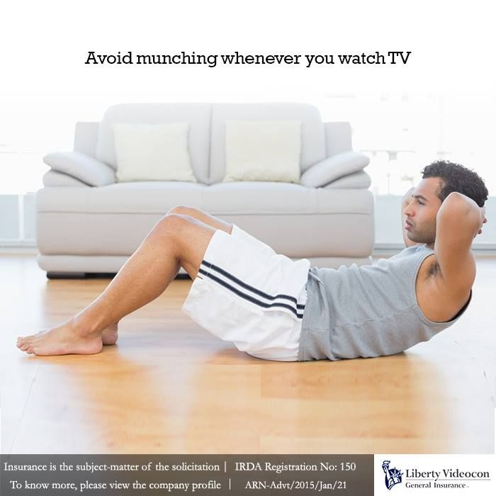 Try to fit in small bouts of exercise whenever possible. Instead of snacking you can pull in a few crunches #NoExcuses