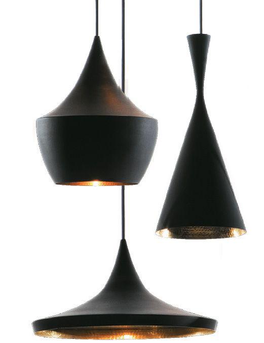 Pendentes de latão Beat Lights, de Tom Dixon, em três formatos (24 x 30 cm, 19 x 36 cm e 36 x 16 cm)