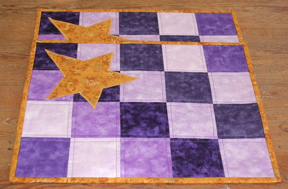 Quilted Advent Placemats  Purple Orchid Gold by RedNeedleQuilts, $36.00