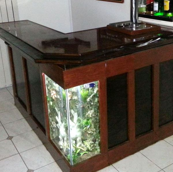 Diy fish/aquarium tank bar feature