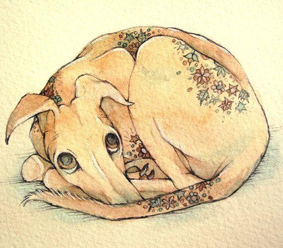 Greyhound Art Floral Greyhound Drawing by FluffyFenris on Etsy, £25.00
