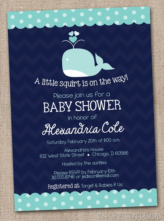 Navy Blue Whale Baby Shower Invitation, can change squirt to wolf and change the whale to a wolf pup