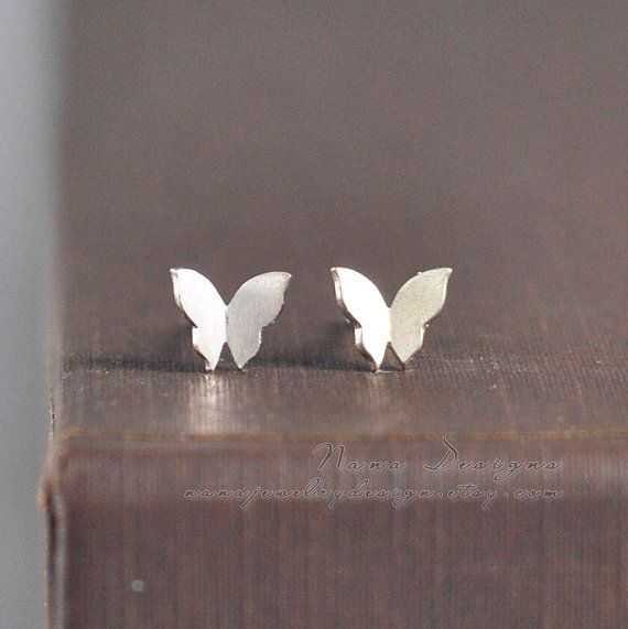 Tiny Butterfly Earrings,Sterling Silver Butterfly Stud Earrings,Tiny Butterfly Studs,Cute Earring Studs,Simple Everyday Jewelry Gift For Her