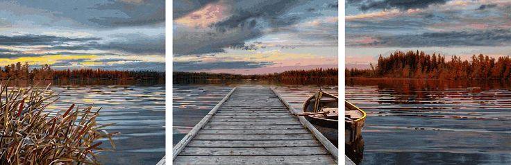 Dieses neue Bild von Schipper zeigt einen wunderschönen See, der ganz ruhig da liegt. Genau in der Mitte führt ein Steg fast in den Horizont. Eine eindrückliche Himmel Szenerie mit vielen feinen Farben widerspiegelt sich im Wasser. Jeder kann das Malen nach Zahlen selbst malen.