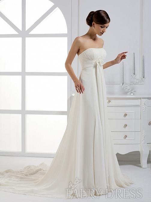 FAERYDRESS.com SUPPLIES Gorgeous A-line Strapless Ribbons Chapel Train Wedding Dress