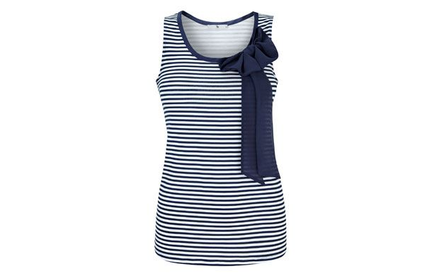 "Striped Bow Tank Top. ""Embrace sailor chic with this cute and quirky top - we love the navy bow detail!"""