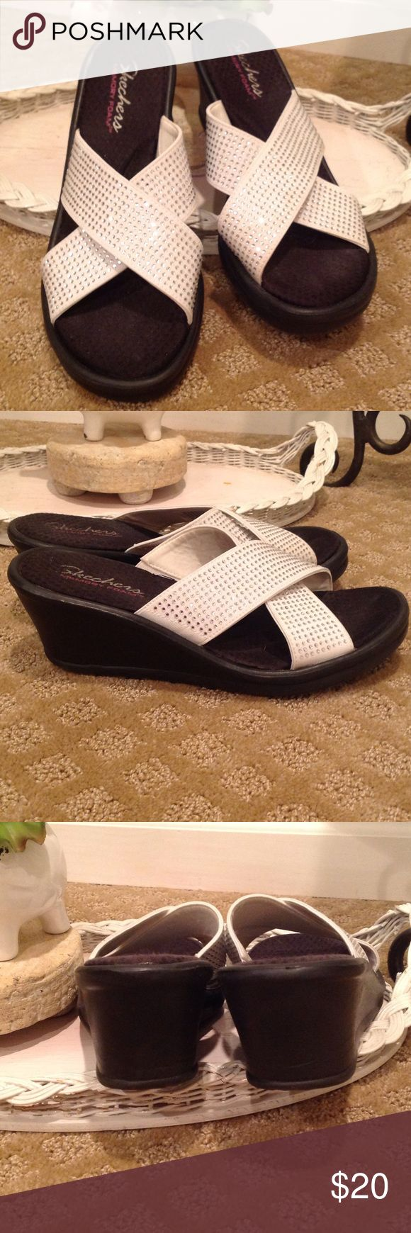 "SKECHERS WEDGE SLIDES WITH BLING😘 SKECHERS WEDGE SLIDES . WHITE WITH ""BLING"". IT NOT ONLY IS GORGEOUS...IT IS THE MOST COMFORTABLE SHOE💕 Skechers Shoes Wedges"