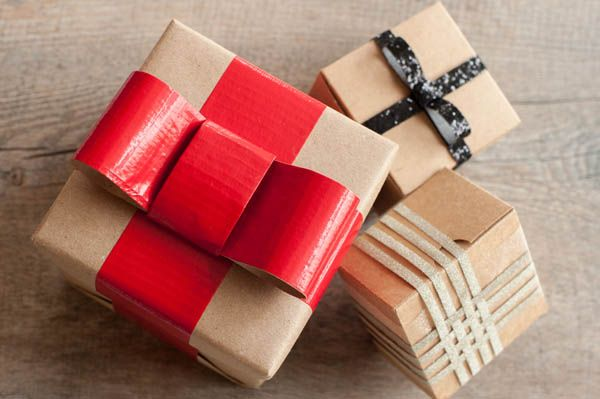 brown paper packages with glamorous bows
