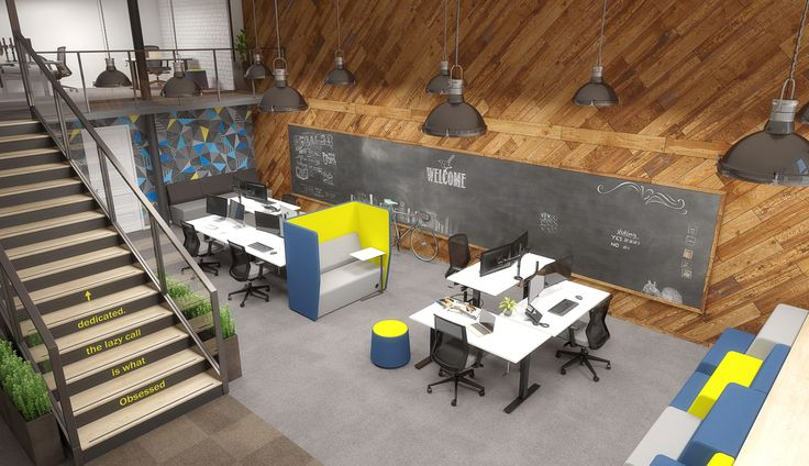 Standing desks, workstations, booths and chalkboards. Looks like the perfect office design for teamwork and collaboration.  http://www.jpoffice.com.au/