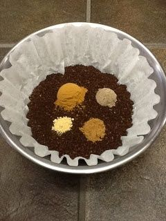 Chai Coffee - mix 1 C ground coffee with 1 tsp cinnamon 1/2 tsp cardamon 1/4 tsp nutmeg and 1/8 tsp ginger. Mix well and brew!.