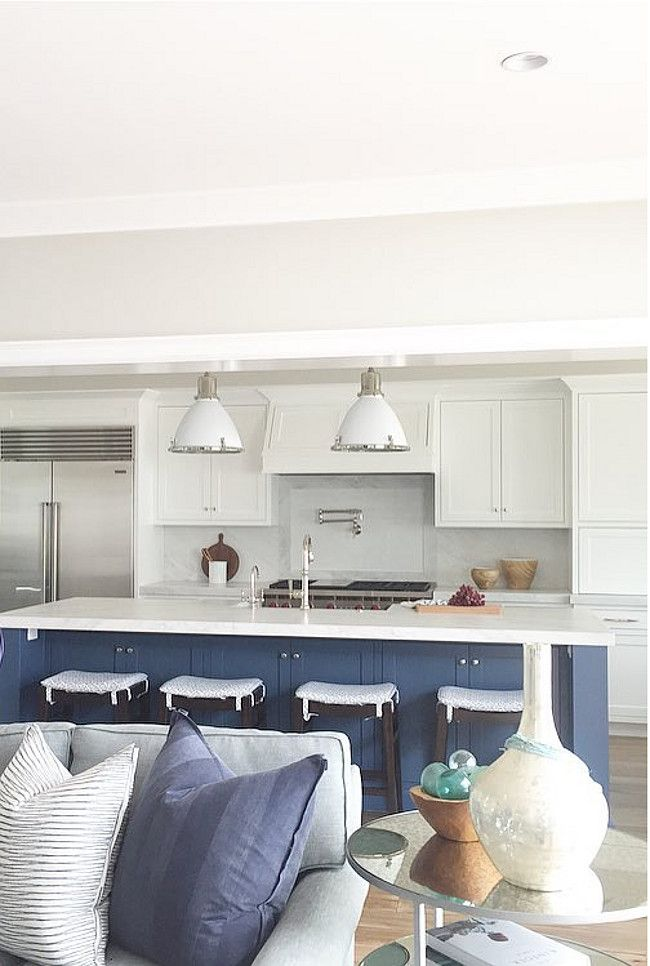 www.waringsathome.co.uk  Farrow and Ball Stiffkey Blue. The kitchen island color is Farrow and Ball Stiffkey Blue. Brooke Wagner Design. #FarrowandBallStiffkeyBlue
