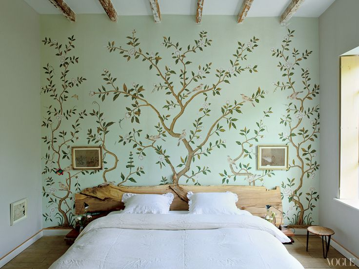 I'm obsessed with this entire home - Custom de Gournay wallpaper pairs with a bed designed and built by Halard.