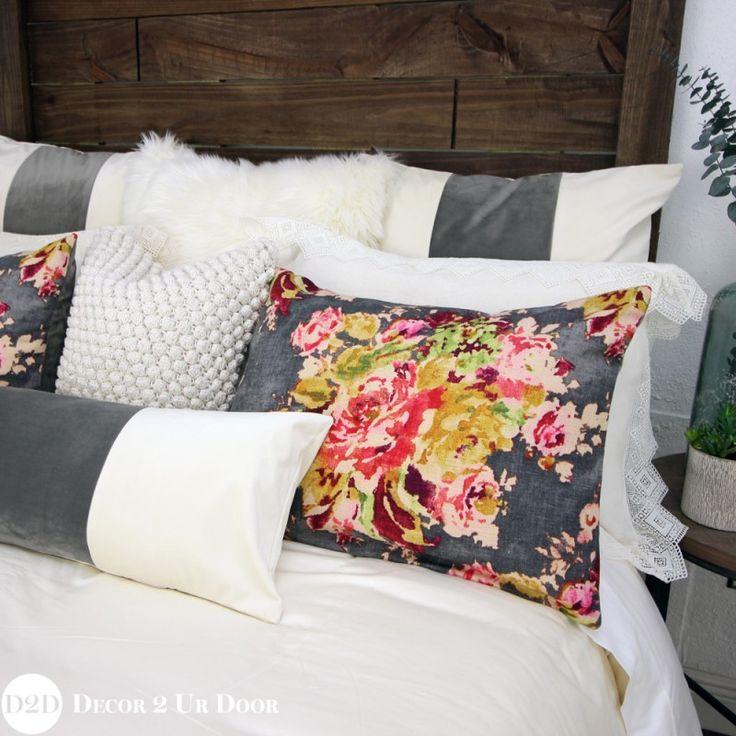 Grey Velvet & Multicolor Floral Custom Designer Bedding Collection
