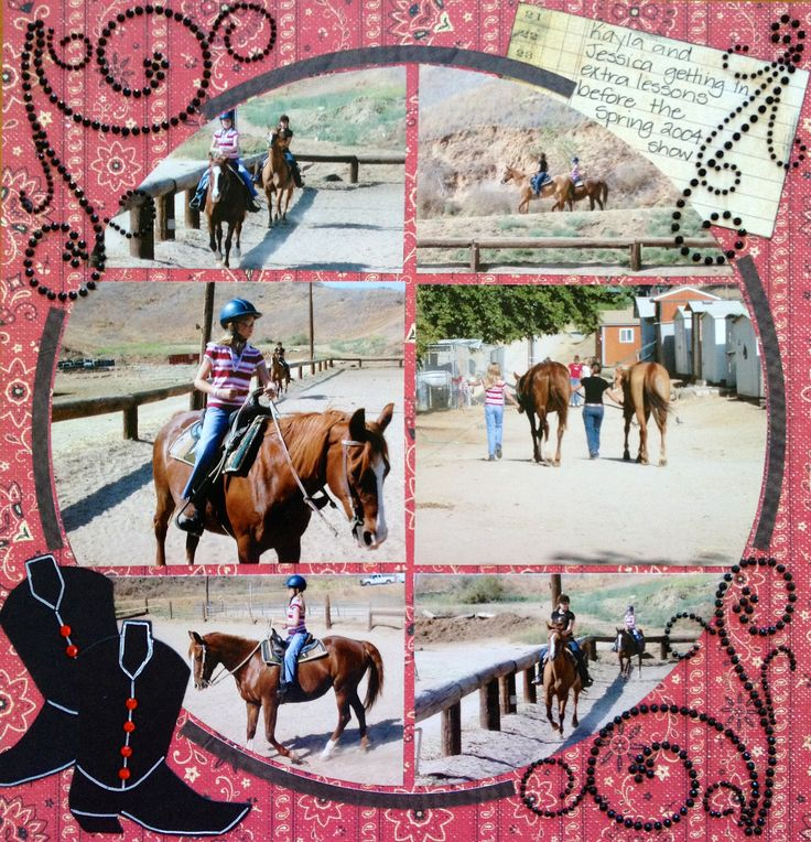 Horse riding lessons.  Photo collage created by Pamela Darrow (designer at Lea France)