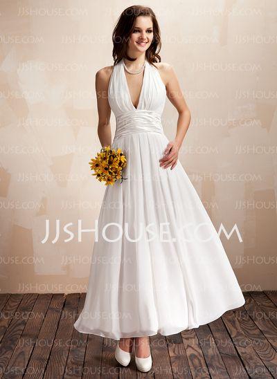 A-Line/Princess Halter Ankle-Length Chiffon Charmeuse Wedding Dress With Ruffle Sashes (002012645)