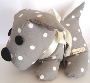 A dotty grey Marthamoo dog doorstop £21.00