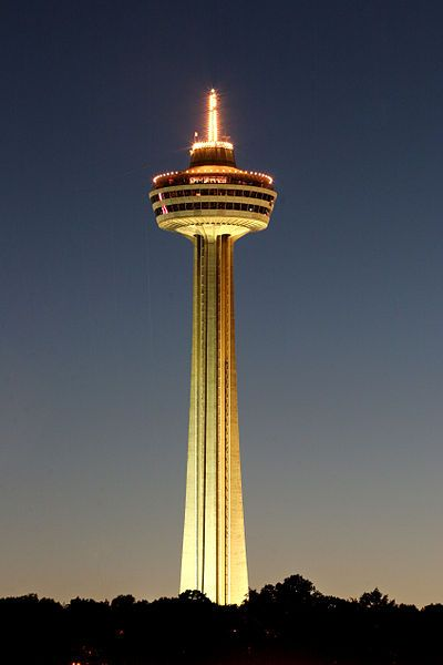 The Skylon Tower, in Niagara Falls, Ontario, is an observation tower that overlooks both the American Falls, New York and the larger Horseshoe Falls, Ontario from the Canadian side of the Niagara River
