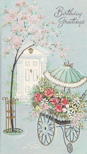 Elegantly lovely vintage birthday greetings. #vintage #birthday #cards