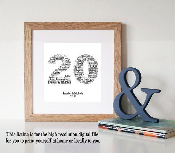 PERSONALISED 20 Year Anniversary Gift - Word Art - Printable Art - Digital Art…