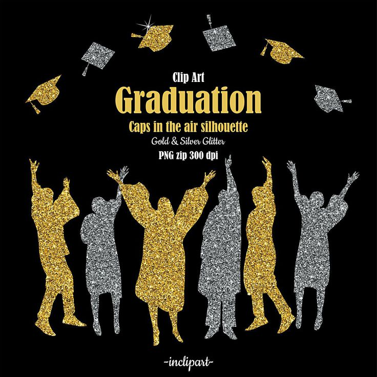 Graduation clip art. Caps in the air, people silhouette. Congratulations graduates clipart . Gold, silver glitter. Digital download PNG. by inclipart on Etsy
