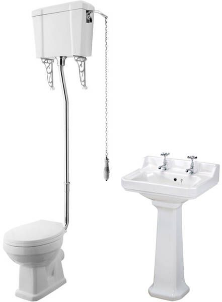 Traditional bathroom suite with low level toilet pan, high level cistern