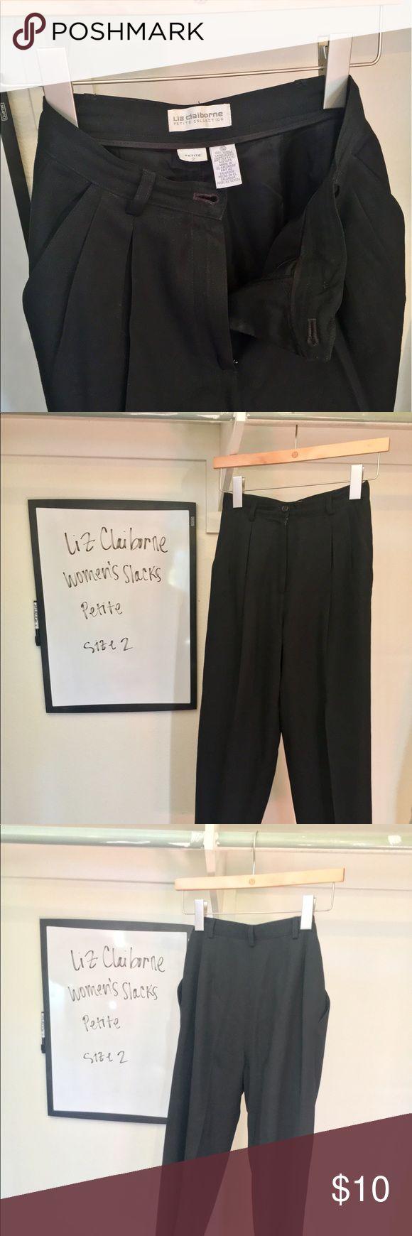 Liz Claiborne Women's Slacks - Petite Liz Claiborne Women's Slacks - Black, wool. In excellent condition. Liz Claiborne Pants Trousers