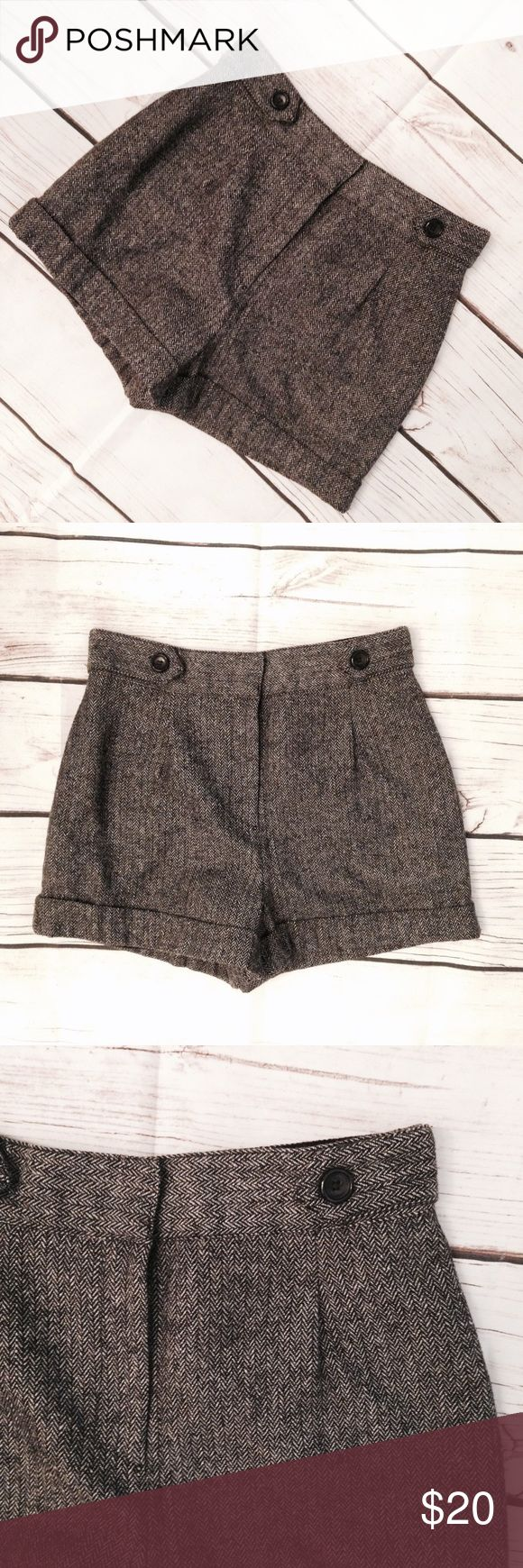 """Forever 21 Wool Tweed High Waisted Shorts Gear up for fall with these classic black & grey wool blended tweed shorts! Retro high waist fit with button accents on hips. Two side pockets; hook & eye and zipper closure. Fully lined. By Forever 21. Size M. Polyester/wool/acrylic/nylon/rayon/cotton blend. Waist measures 29"""". Rise 12.5"""". Length 14"""". Good pre-owned condition with no holes, rips, or stains.  KWs: indie, work chic, back to school, preppy, style crush, rockabilly, pinup, weekend…"""