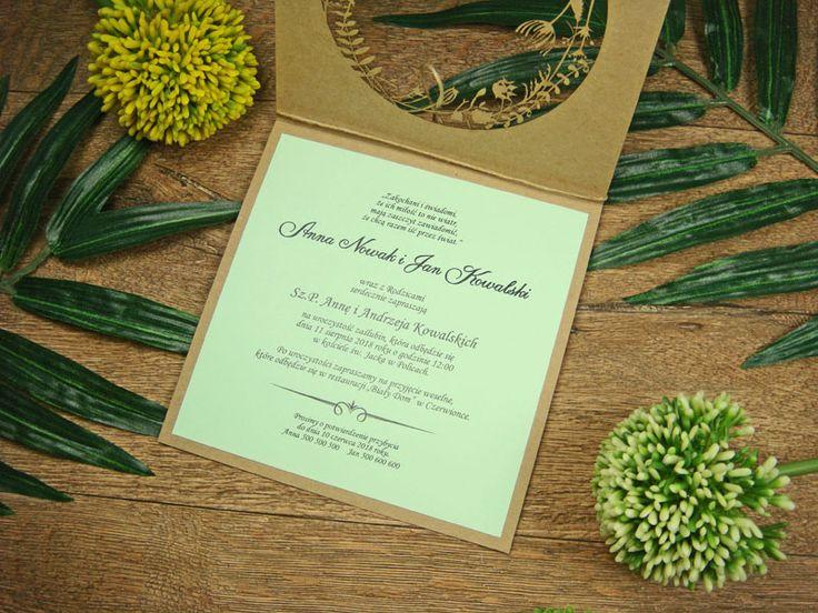 zaproszenia ślubne eko z kolekcji Lato wzór  68     Zaproszenia ślubne laserowe, kartki 3D