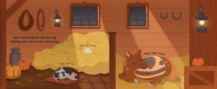 Night night bed time sleepy barn yard scene by Kitt Byrne #illustration #childrens #childrensillustration #barn #barnyard #yard #stable #manger #horse #pony #goodnight #sleeping #sleepy #bedtime #bedtimebook #books #childrensbook #childrensbooks #puppy #dog #hay #cute #vector #sunset #evening #autumn #fall #pumpkin #yawn #night