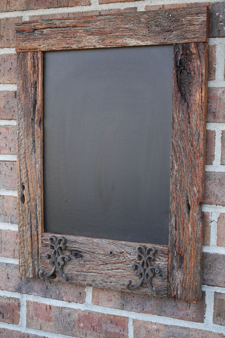 Reclaimed Barn Wood Chalkboard with Double Hooks this would be so cute by the front door!! Leave reminders etc