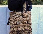 Burlap Purse Burlap Bag Ruffled Tote Bag. $52.00, via Etsy.