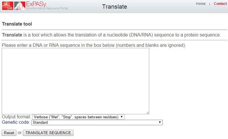 Translate is a tool which allows the translation of a nucleotide (DNA/RNA) sequence to a protein sequence.