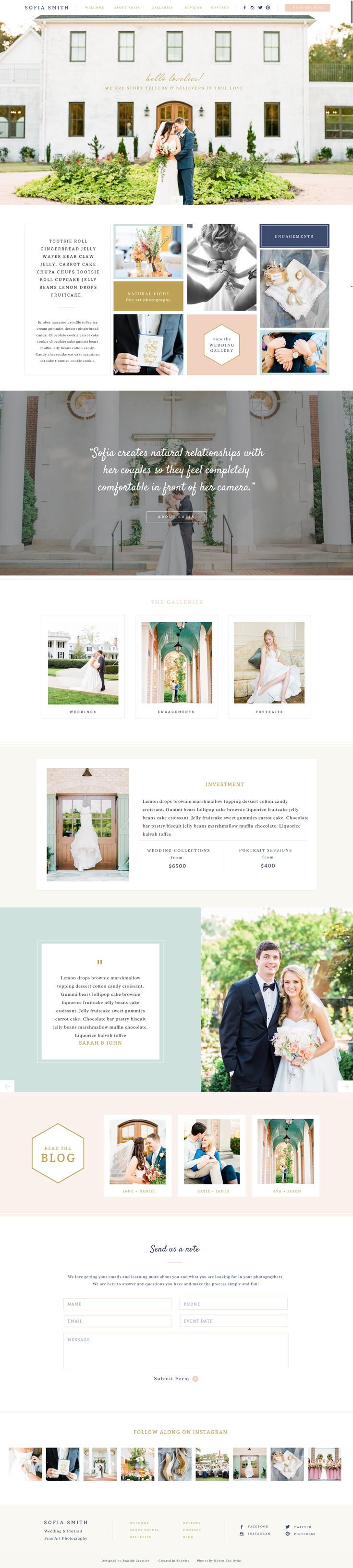 Sofia Showit 5 Website Template Design by Seaside Creative.   Elegant, Intimate, Friendly, Classy, Natural