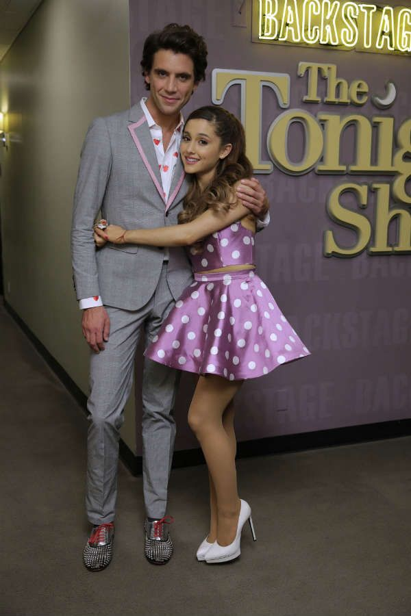 Ariana makes an appearance on Jay Leno with fellow musical guest Mika. Getty Images -Cosmopolitan.com