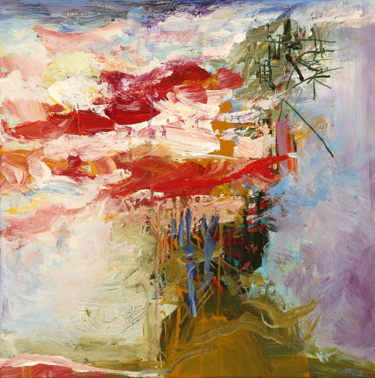 Abstract Painting by Veronica Plewman DRIFTING RED, 2015 Acrylic on Canvas 20˝ × 20˝