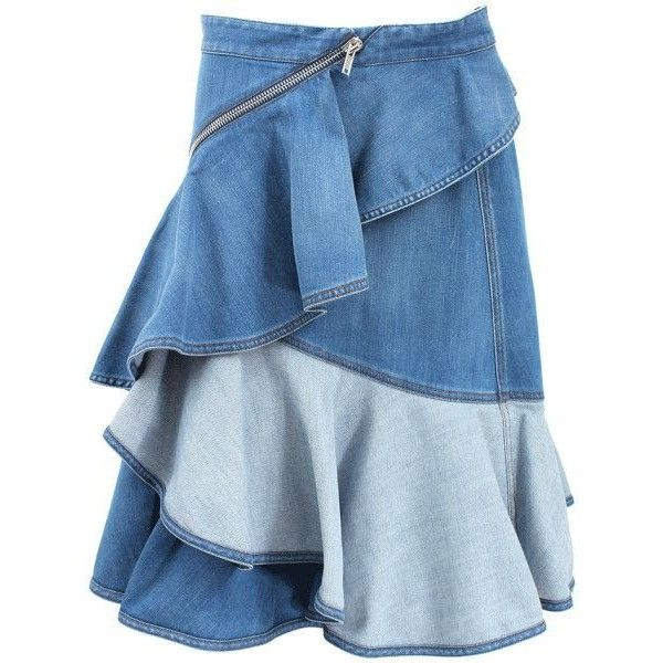 Givenchy Blue Ruffle Front Denim Zip Skirt found on Polyvore