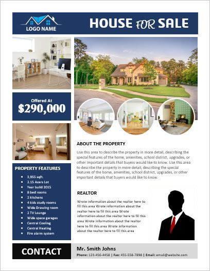 MS Word House for Sale Flyer with Pictures #FSBO #HouseForSale
