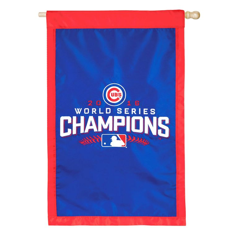 """Chicago Cubs 2016 World Series Champions 28"""" x 44"""" Applique House Flag - $27.99"""