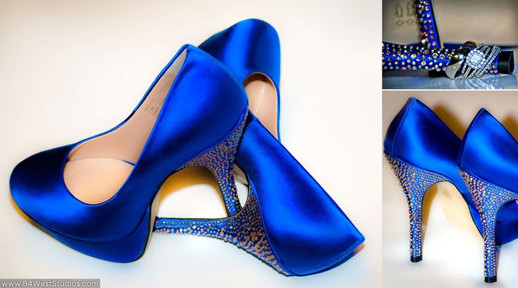 Royal Blue Satin Wedding High Heels With Crystal Stem Accents Angela R