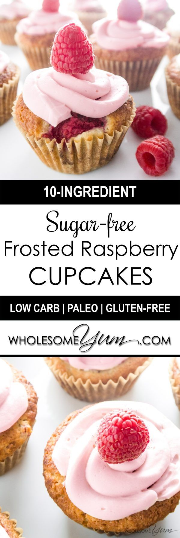 Sugar-free Frosted Raspberry Cupcakes (Low Carb, Paleo) - These sugar-free cupcakes are bursting with juicy raspberries and topped with natural raspberry buttercream frosting. Low carb, gluten-free, paleo friendly, and THM S.