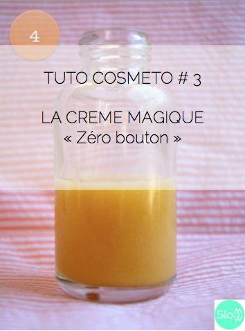 TUTO #3 LA CREME MAGIQUE anti-imperfections : 10 mL d'huile de jojoba + 2 gouttes d'HE de lavande aspic + 2 gouttes d'HE d'arbre à thé + 3 gouttes d'HE de niaouli + 20 mL de gel pur d'aloe vera + 4 gouttes d'extrait de pépin de pamplemousse (conservateur naturel)