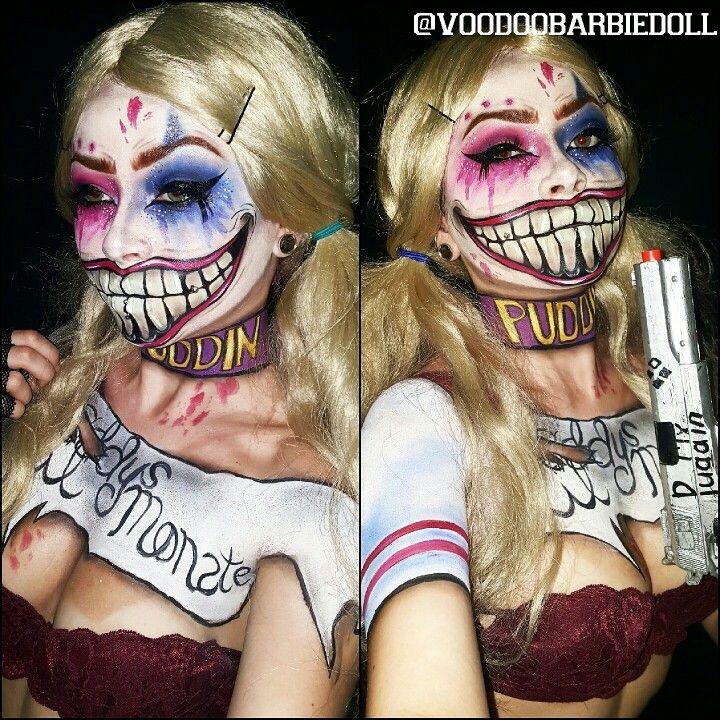Suicide Squad Harley Quinn  | IG @voodoobarbiedoll | Harley Quinn Makeup, Suicide Squad, Batman Makeup, Villain Makeup, The Joker, Puddin, Daddy's Lil Monster, Cosplay, Cosplay Makeup, Costume Makeup, Halloween Makeup, Dramatic Makeup, Face paint, Facepaint, Body Paint, Bodypaint, Mehron Makeup, Blonde Wig, Scary Mouth Makeup, Teeth Makeup