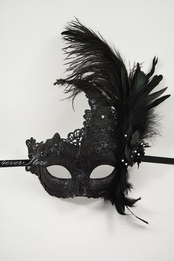 Womens Venetian Masquerade Mask Mask with Feathers & Flowers on Etsy, $32.95