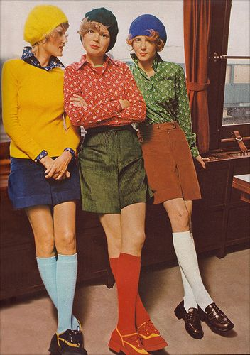 On the 'to wear' list of the early 70's: berets, knee-high socks, mini skirts, blouses in browns, greens, and yellows.